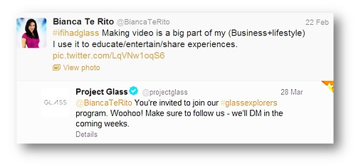 Google Glass Explorers Invitation to Bianca Te Rito 1